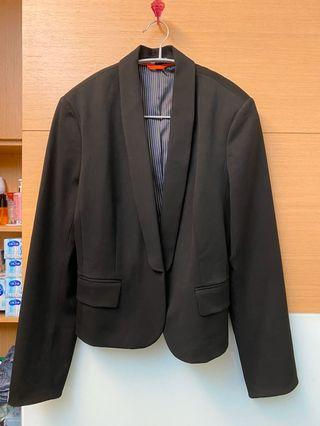 Express 深藍西裝外套 條紋內裡