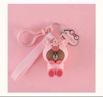 Line 熊大粉色 英字 鑰匙圈 吊飾 粉