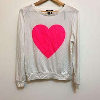 Forever 21 粉色愛心白色長袖上衣 #我愛地球