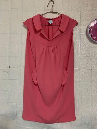 9成新miu miu粉紅甜美小洋裝