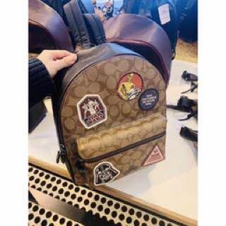 Authentic  star wars x coach medium Charlie backpack in signature canvas with patches