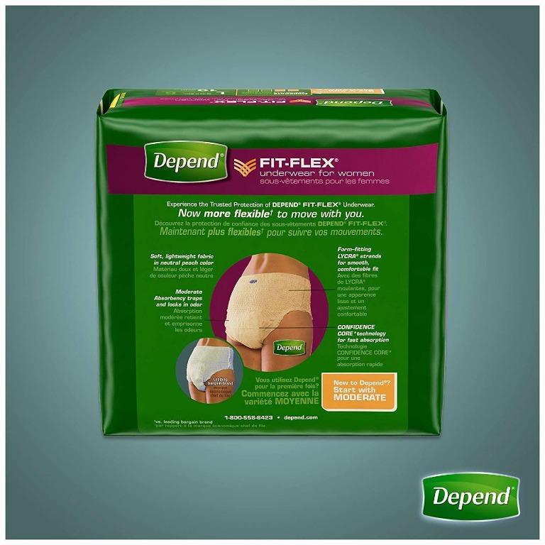 Depend FIT-FLEX Incontinence Underwear for Women, Moderate Absorbency, S/M, 76 Count