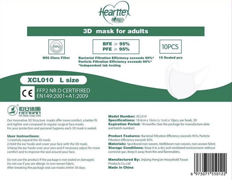 FFP2 3D MEDICAL MASK PROTECTION AND COMFORTING EQUIVALENT TO N95