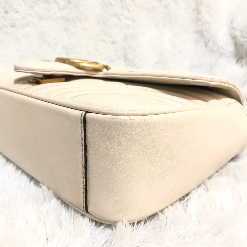 Gucci GG Marmont white medium GHW, made in Italy kwalitas mirror VIP, bahan full kulit asli, kondisi 95% good condition second Like New
