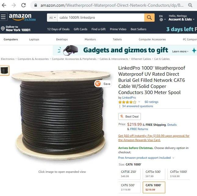 LinkedPro 1000' Waterproof UV Rated Direct Burial Gel Filled Network CAT6 Cable W/Solid Copper