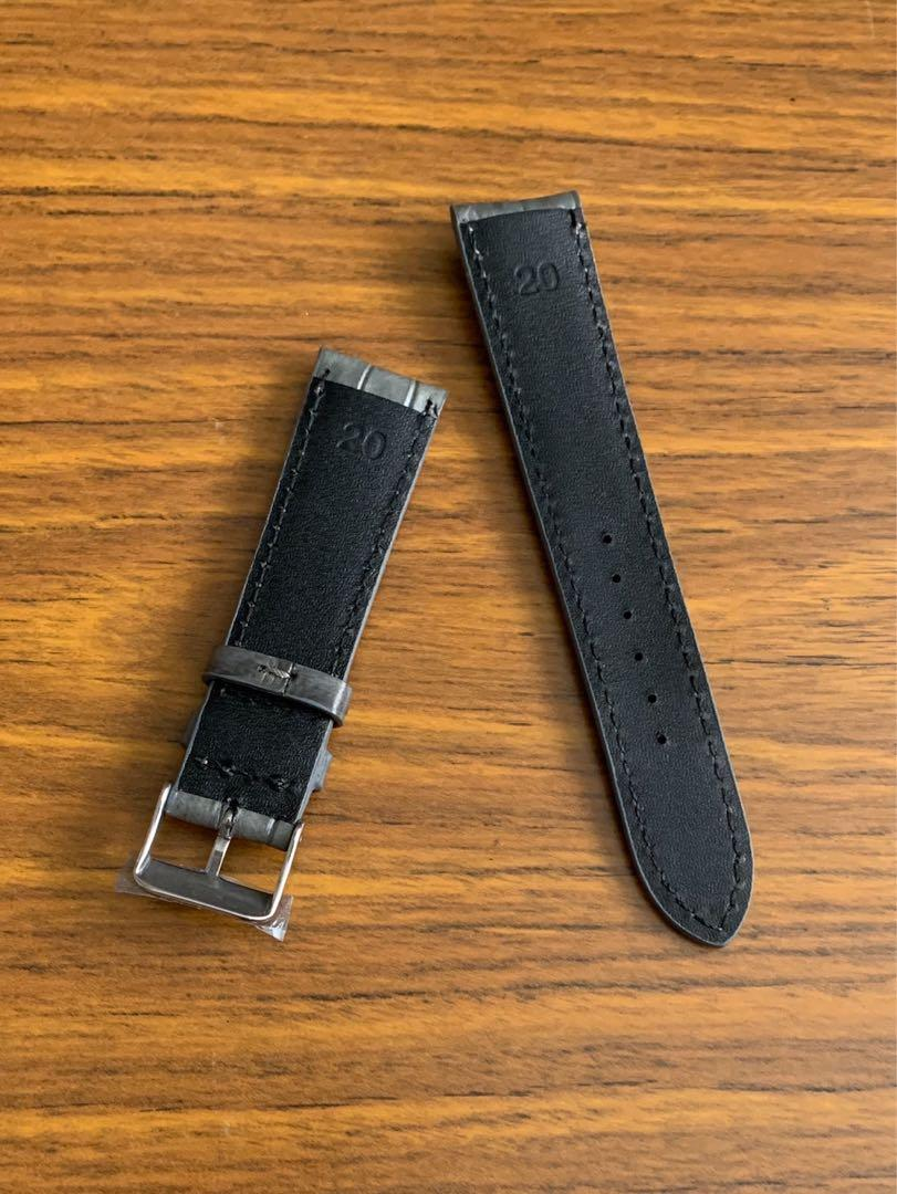 20mm/18mm Authentic Space Grey Crocodile 🐊 Alligator Watch Strap  (very versatile, goes well with yellow gold rose gold stainless steel black white champagne dial-once sold no more🙏🏻😊) Standard Length- L:120mm S:75mm
