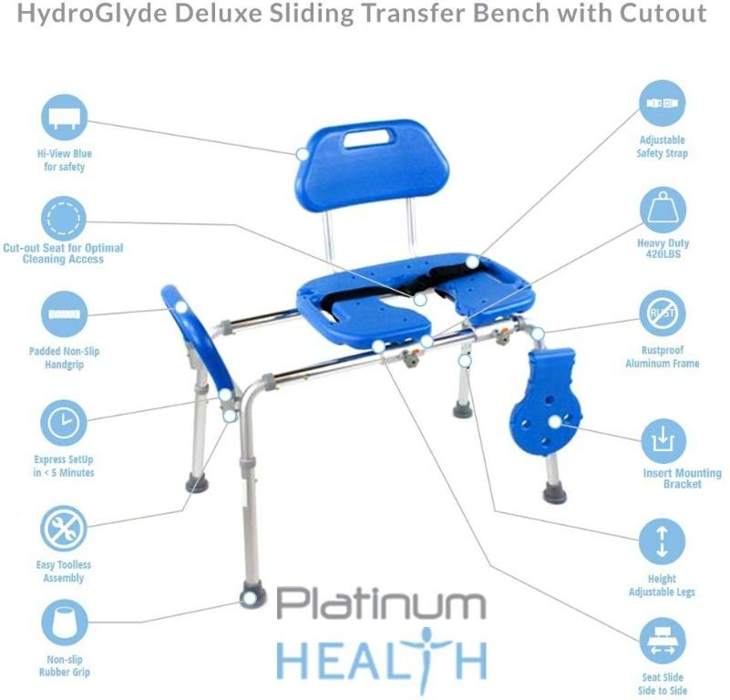 Premium Heavy Duty Sliding Bathtub Transfer Bench 420lbs capacity