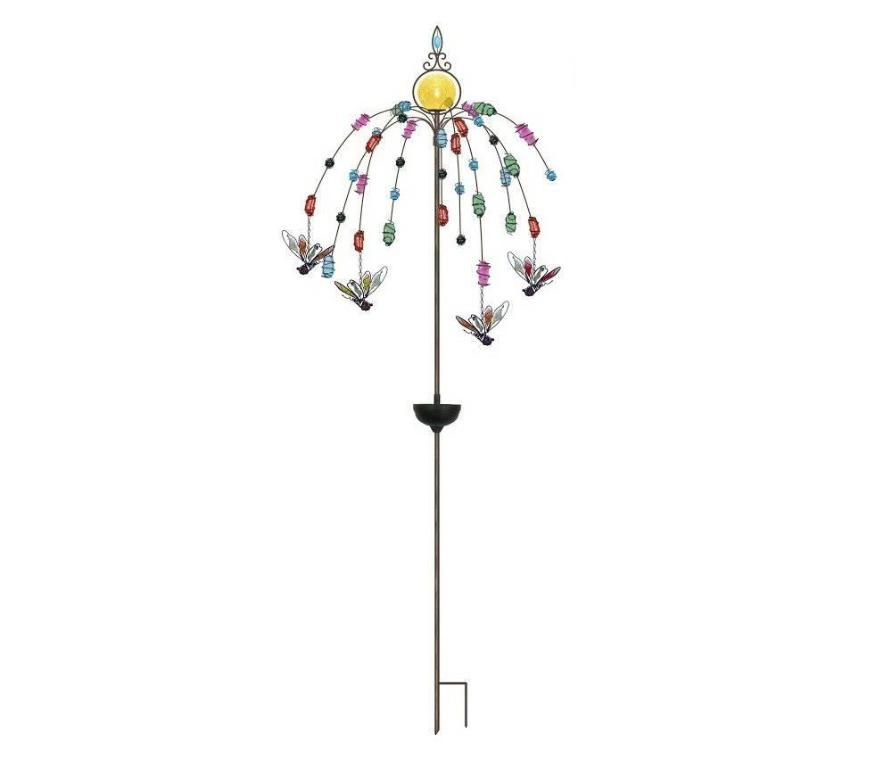 Solar Lighted garden stake with dragonfly ornaments $120 retail