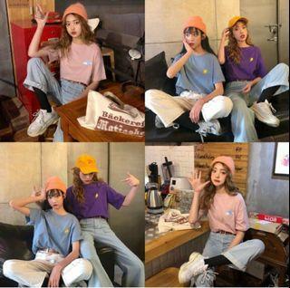 韓系學院風百搭刺繡T恤 紫色