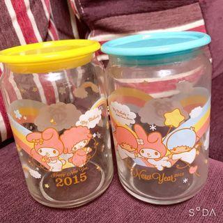 雙星仙子美樂蒂玻璃收納罐兩個100元