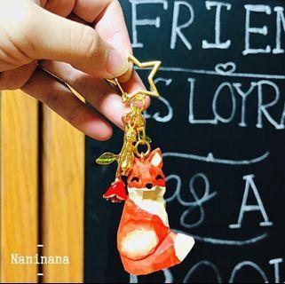 現貨✨手工限量[& unique]小王子木雕玫瑰狐狸鑰匙圈 吊飾 禮物