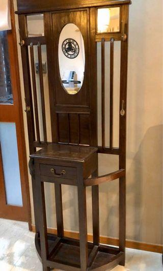 Decorative coat hanger with umbrella stand and drawer