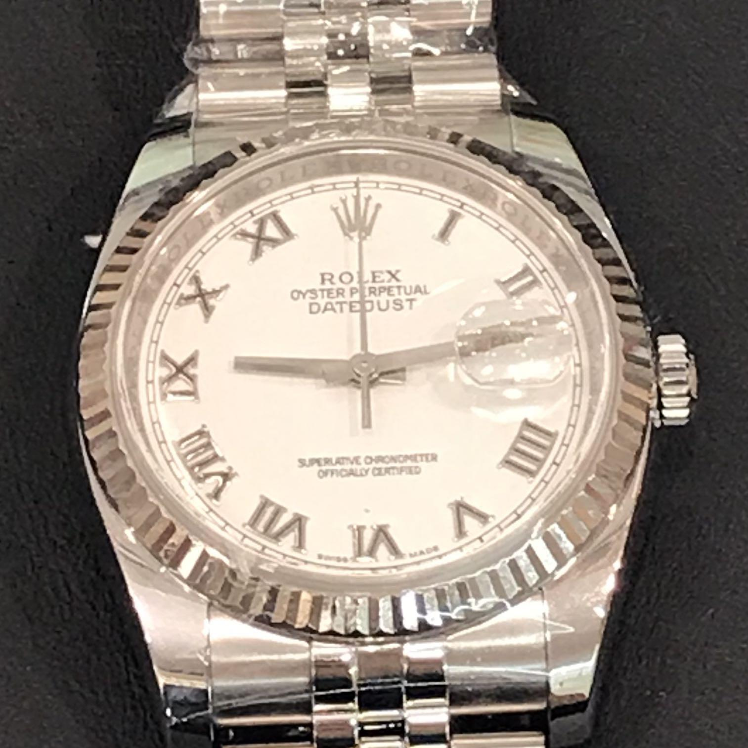 CLEARANCE SALES {Luxury Dress Watch - ROLEX} Authentic ROLEX MEN OYSTER PERPETUAL SUPERLATIVE CHRONOMETER OFFICIAL CERTIFIED 36mm Roman Number Dial Model 116234 Come With Original 18K  White Gold Bezel & Original Jubilee Bracelet