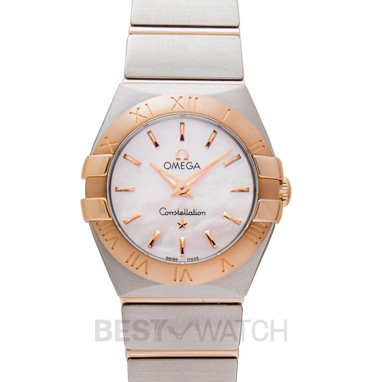 [NEW] Omega Constellation Quartz 24mm Quartz White Mother Of Pearl Dial Red Gold Ladies Watch 123.20.24.60.05.001