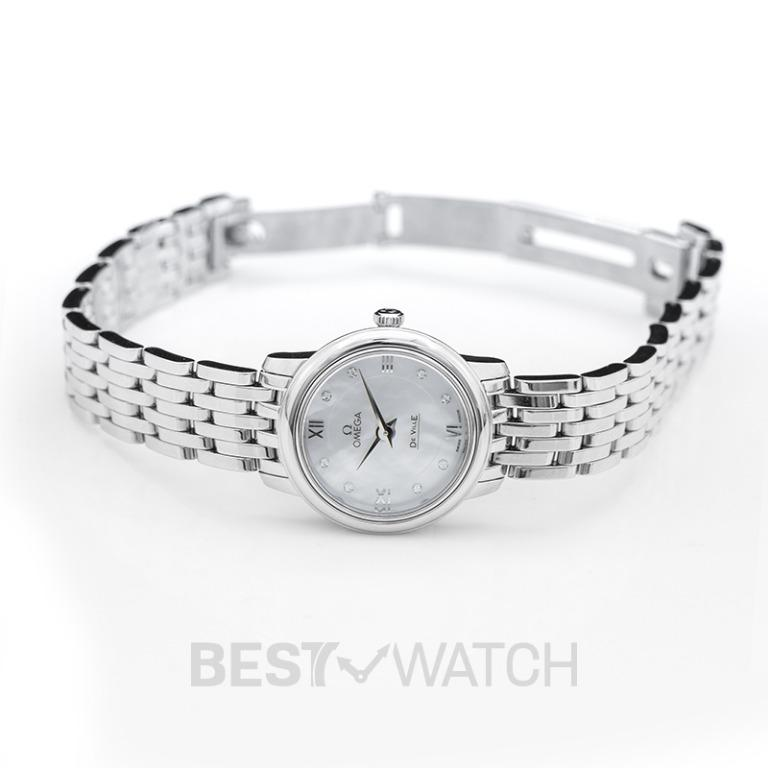 [NEW] Omega De Ville Prestige Quartz 24.4mm Quartz White Mother Of Pearl Dial Diamonds Ladies Watch 424.10.24.60.55.001