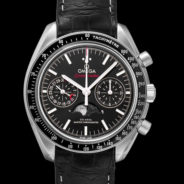[NEW] Omega Speedmaster Moonwatch Co-Axial Master Chronometer Moonphase Chronograph 44.25 mm Automatic Black Dial Steel Men's Watch 304.33.44.52.01.001