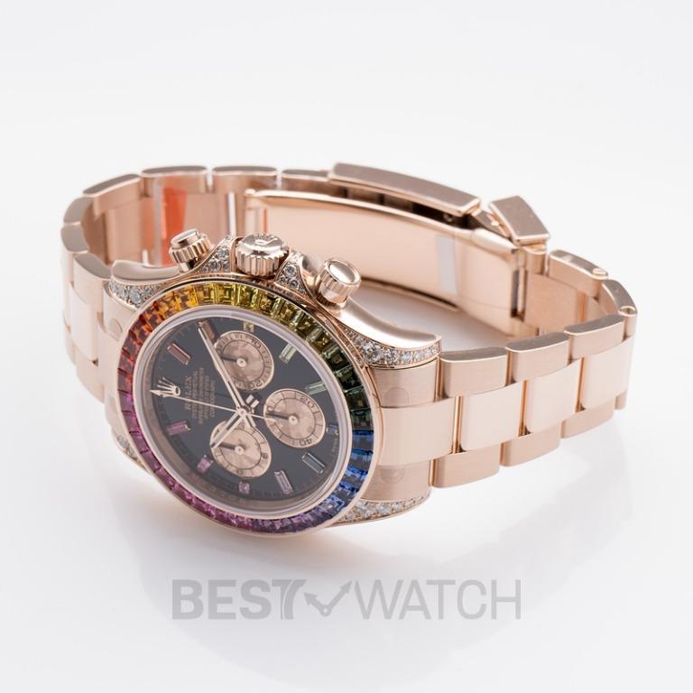 "[NEW] Rolex Cosmograph Daytona ""Rainbow"" 18ct Everose Gold Automatic Black Dial Diamonds Unisex Watch 116595 RBOW"