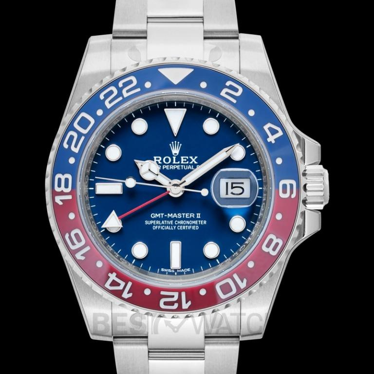 [NEW] Rolex GMT-Master II Pepsi Blue and Red Bezel White Gold Automatic Blue Dial Men's Watch 116719BLRO-0002