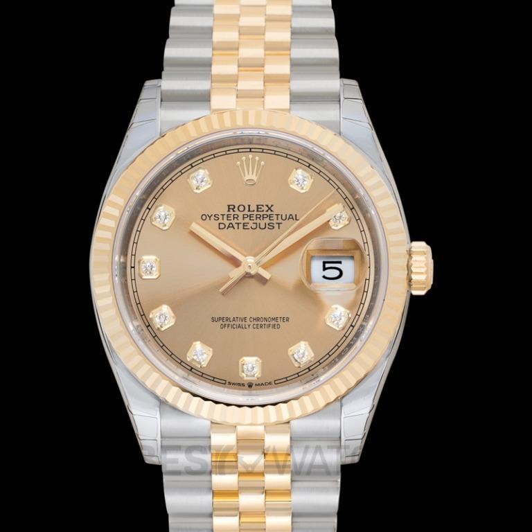 [NEW] Rolex Rolex Datejust 36 Champagne Diamond Dial Men's Steel and 18kt Yellow Gold Jubilee Watch 126233CDJ 126233-0017G
