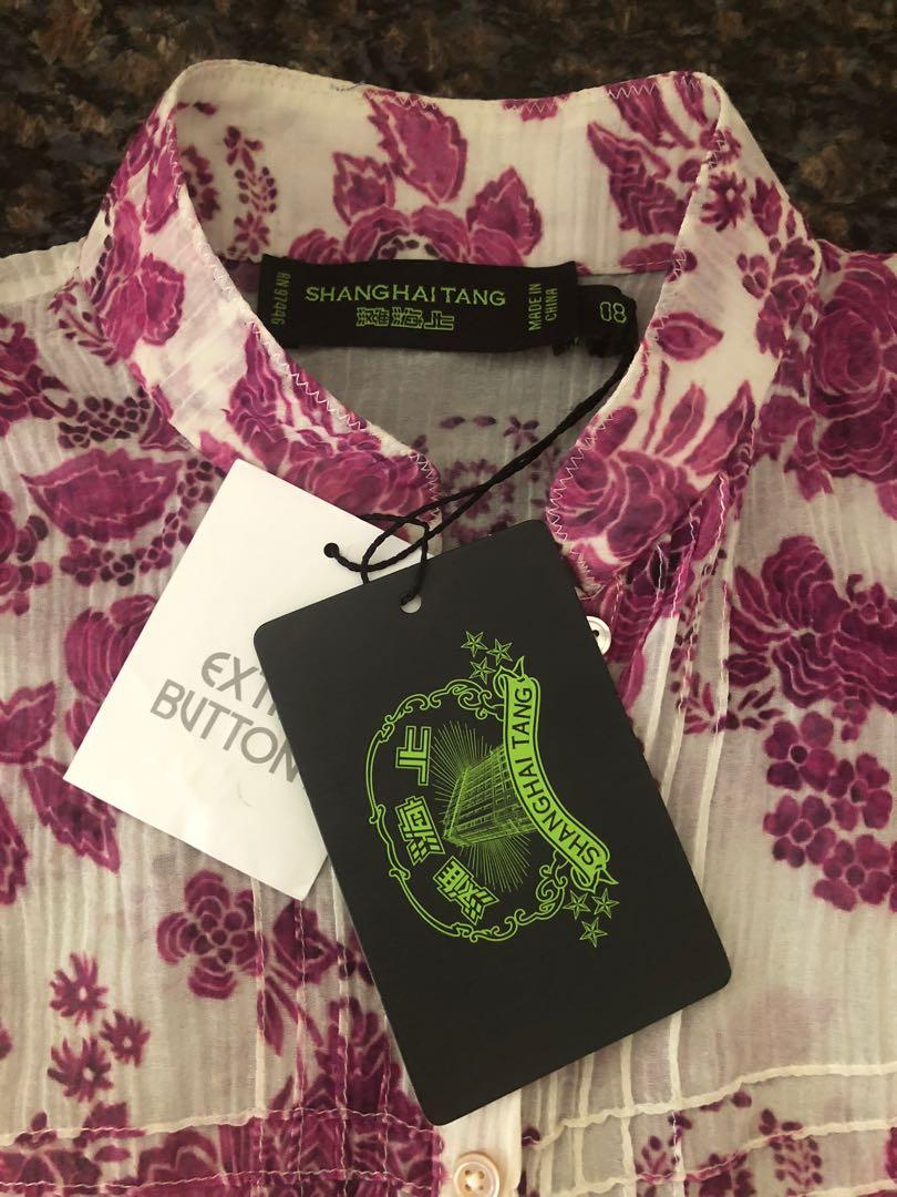 NEW! Shanghai Tang Cotton/Silk Blouse (Size 08 Petite)