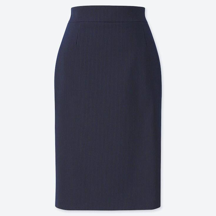 NWT UNIQLO Stretch Pencil Skirt In Navy Pinstripe Size 8