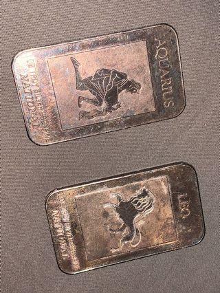 Leo and Aquarius 1 oz silver national bar