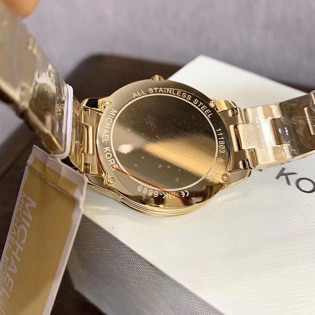 💯 Original Michael Kors Women's Gold Runway Mercer Quartz Watch with Stainless Steel Strap MK6689