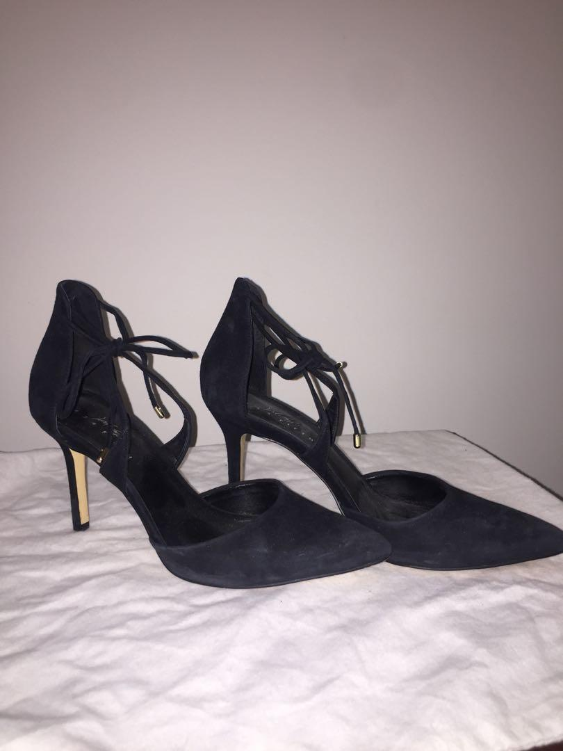 Black suede heels from the bay, slightly worn, size 7