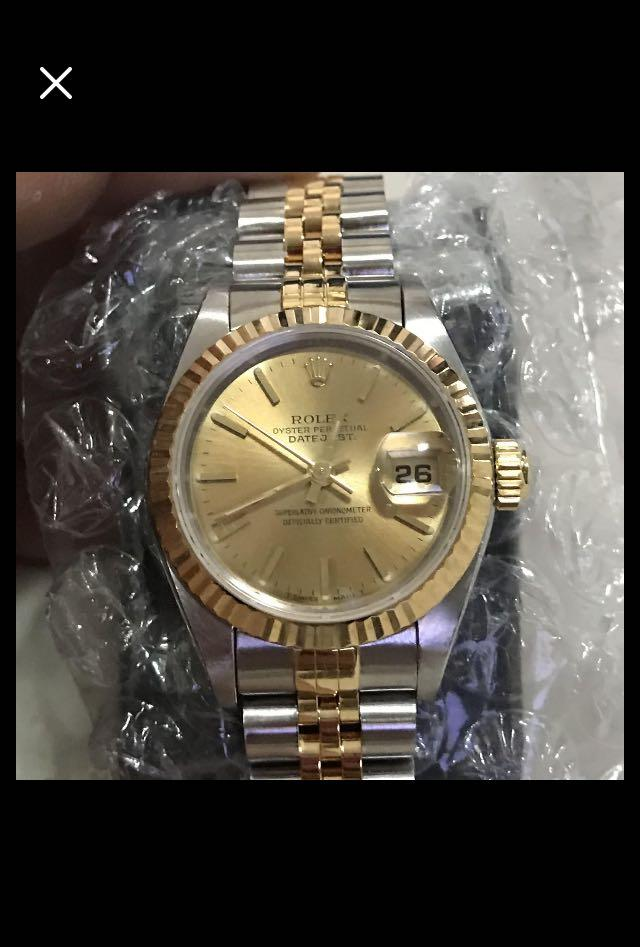 CLEARANCE SALES {Luxury Dress Watch - ROLEX} Classy Half Gold Authentic ROLEX Ladies OYSTER PERPETUAL DateJust 26mm Champagne Rhodium Dial Model 69173 Come With Original Gold Bezel & Half Gold Bracelet - No Pin Hole - Best Buy