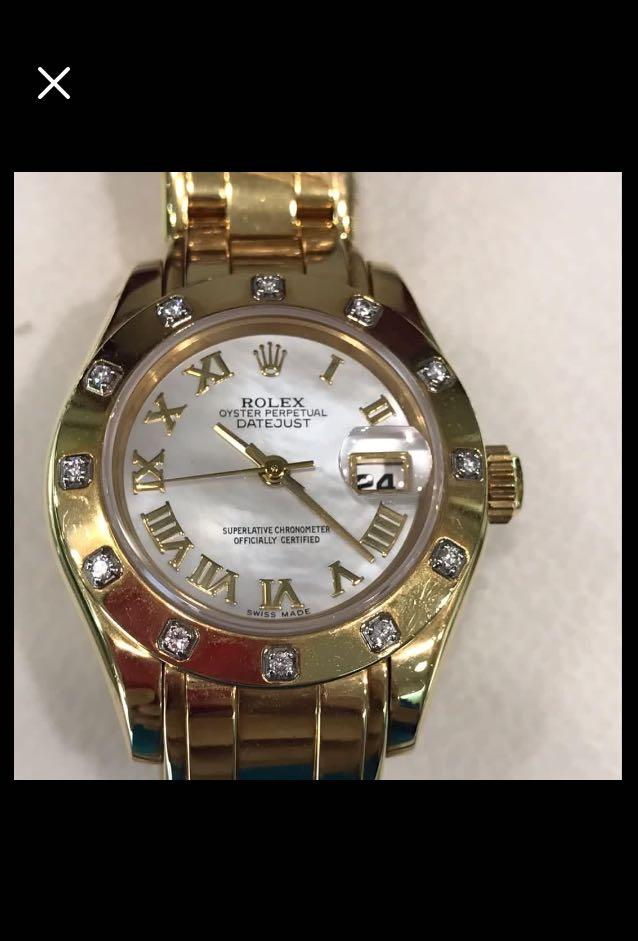 CLEARANCE SALES {Luxury Dress Watch - ROLEX} Solid 18K Gold Authentic ROLEX Ladies OYSTER PERPETUAL DATEJUST SUPERLATIVE CERTIFIED 26mm White Roman Number Dial Model 69318 Come With Original 18K Gold & Diamonds Bezel & Original 18K Gold Jubilee Bracelet