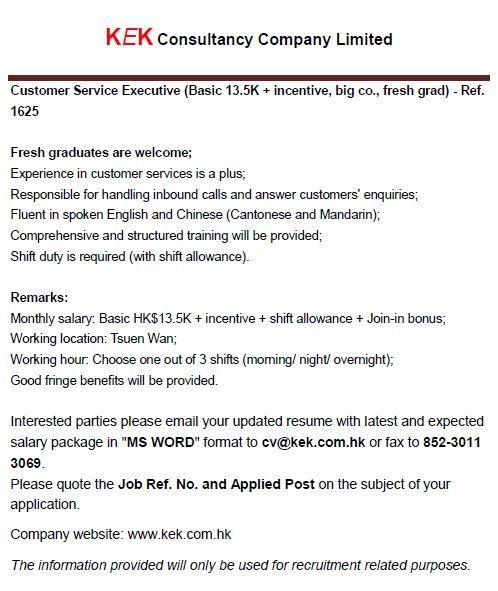 Customer Service Executive - 1625