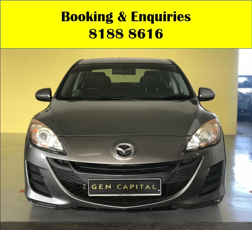 Mazda 3 LOWEST RENTAL IN TOWN! Rent a car from us today & travel with a peace of mind! We have lowered our rental rates with additional Free rental and Petrol vouchers for new signups! Whatsapp 8188 8616 now to reserve a car now!