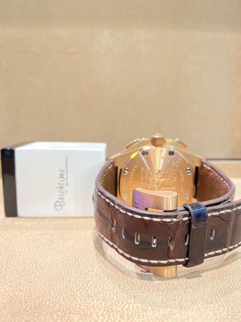 """Pre Owned Audemars Piguet Royal Oak Offshore """"All Stars"""" 26158OR Brown Dial Automatic Rose Gold Casing Leather"""
