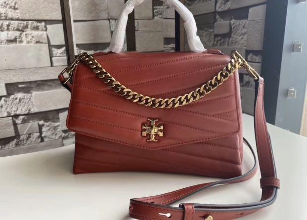 (Rare colour) Authentic Tory Burch top handle Kira chelvon women sling bag in red hhhj