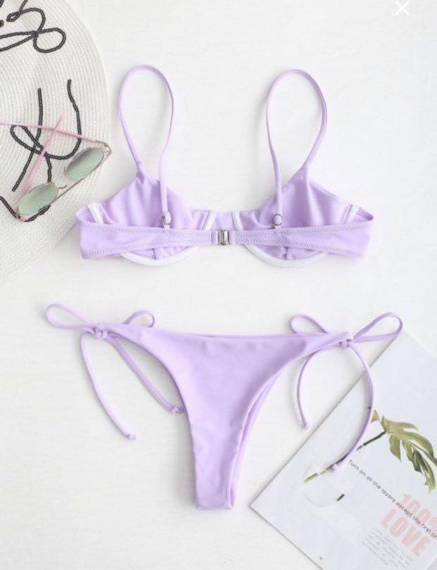 Two piece zaful lilac underwire balconette bikini set