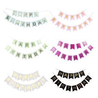 Happy Birthday Banner  Gold Lettering Bunting Flag Garland