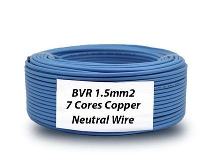 Neutral Blue Electrical Wire BVR 1.5mm2 / 7 Cores Pure Copper Wire