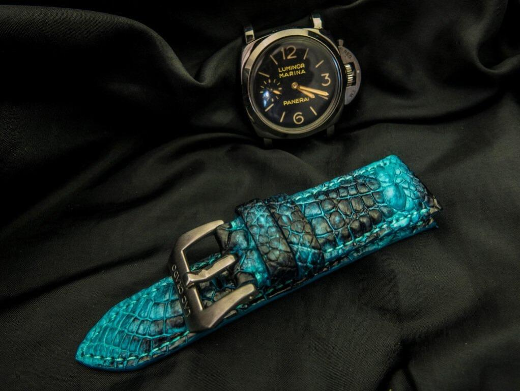 "26mm/24mm ALLIGATOR / CROCODILE HORNBACK LEATHER STRAP - ""STARFISH"" FOR PANERAI AND CUSTOM MADE FOR OTHER WATCHES"
