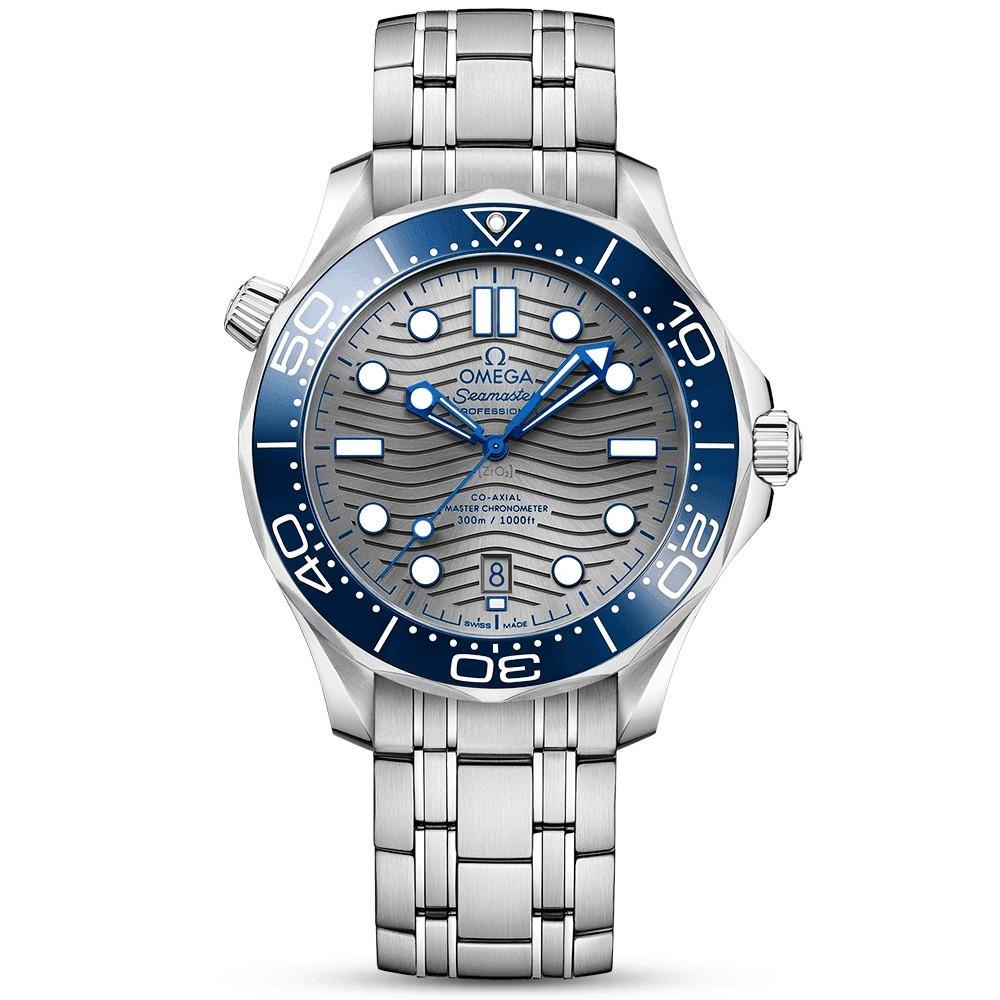 * FREE DELIVERY * Brand New 100% Authentic Omega Seamaster Grey Dial Blue Ceramic Bezel on Bracelet 210.30.42.20.06.001