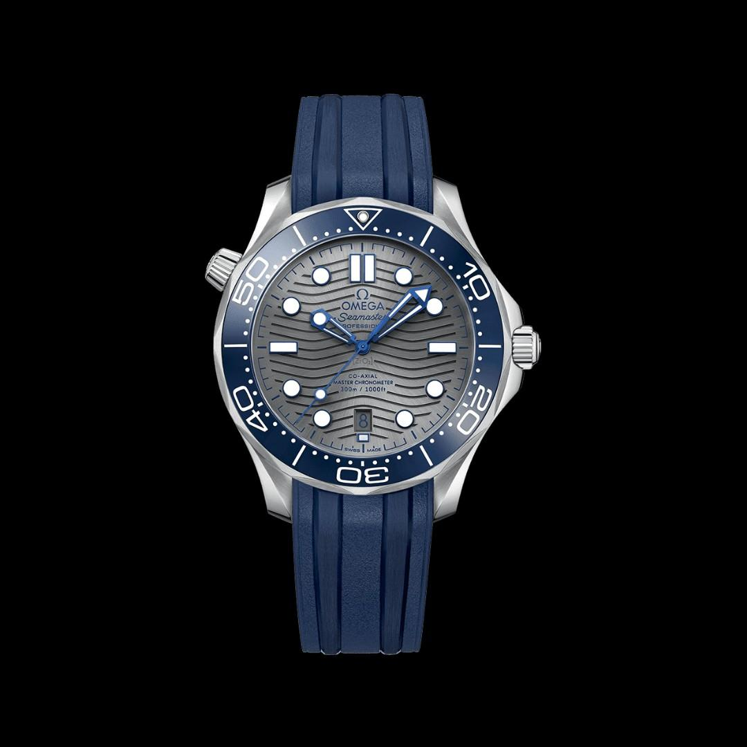 * FREE DELIVERY * Brand New 100% Authentic Omega Seamaster Grey Dial with Blue Rubber Strap 210.32.42.20.06.001