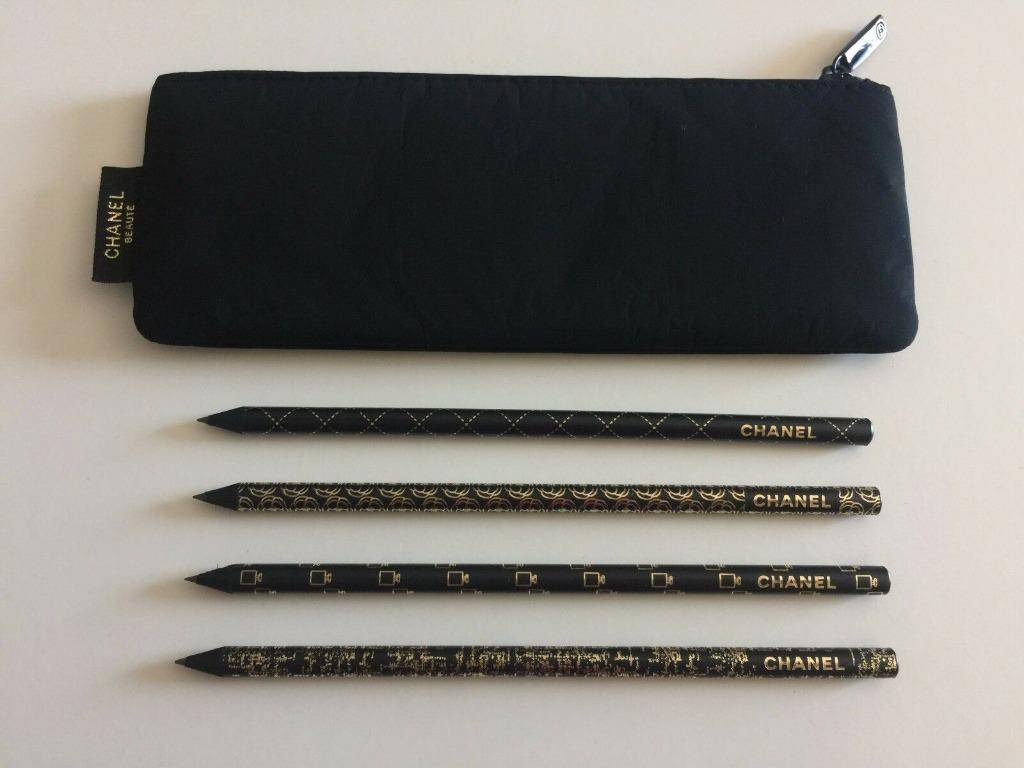 CHANEL BEAUTE DE CRAYONS PENCIL (Set of 4 Pencil) With BLACK POUCH NEW #10Challenge