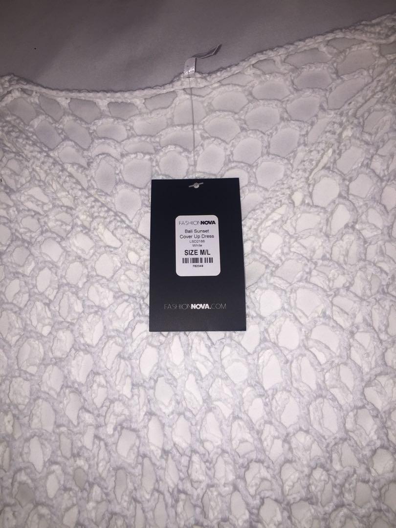 Fashion Nova white bikini cover up, tags on, never worn, size S/M
