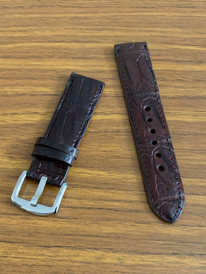 [DISCOUNTED] 22mm/20mm Authentic Pecan Brown Alligator 🐊 Crocodile Watch Strap - unique swivel grains (one piece only, once sold- no more👍🏻)  Length- L:125mm S:75mm - LAST SUCH PIECE- CB SALE!!😊
