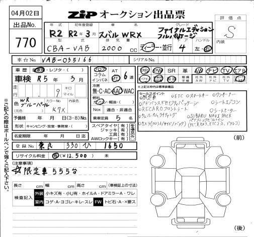 Subaru WRX STI EJ20 FINAL EDITION Manual