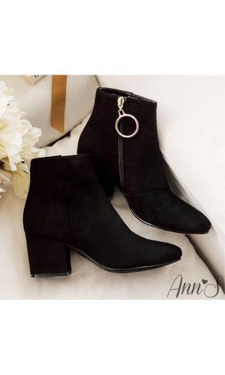 中大尺碼[轉賣ANN's]防水機能型絨布金環素面短靴-黑