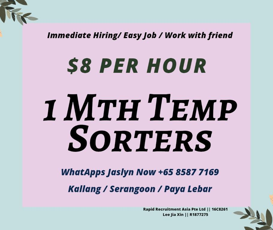 (1 Mth) Temp Mail Sorter ($8 per hour / Central & East)