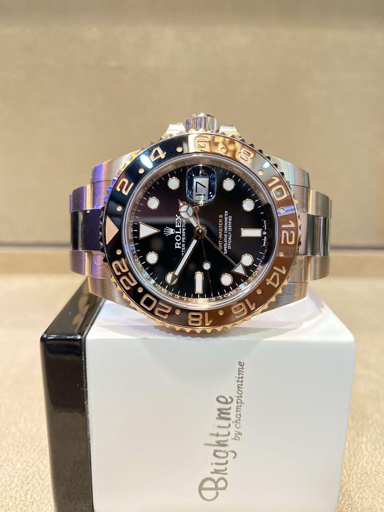 """Pre Owned Rolex Oyster Gmt Master II 126715CHNR """"Rootbeer"""" Black Dial Automatic Everose Rose Gold Casing Bracelet"""
