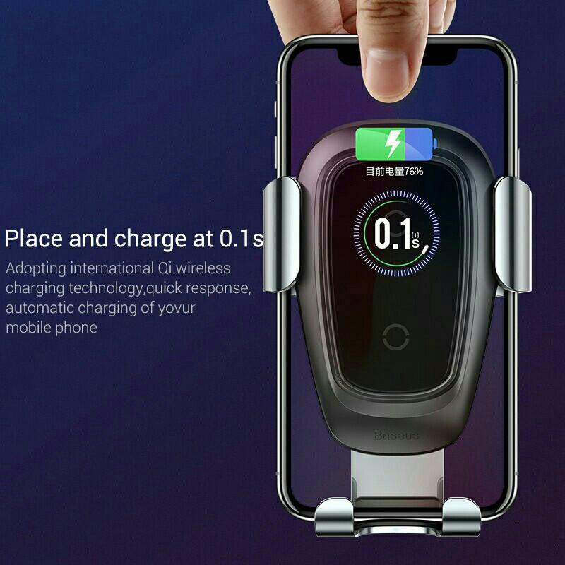 Baseus gravity car phone holder 10w qi wireless charger for iPhone X Samsung S10 S9 S8 phone holder car phone charger in air vent