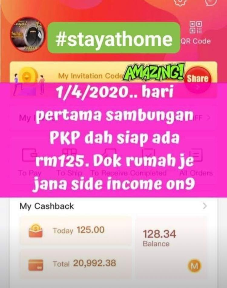 STAY AT HOME. WORK FROM HOME. PART TIME. RM100 - RM1000/SEHARI