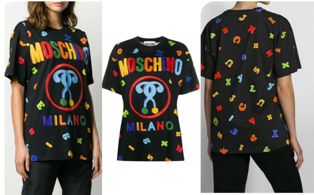 Tshirt Alphabet Logo Multicolor Black oversize (motif depan belakang yah  Size XXS 52cm, XS 53cm, S 55cm